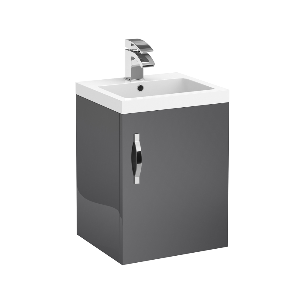 Apollo 400mm Wall Hung Vanity Unit (Gloss Grey - Depth 355mm) Large Image