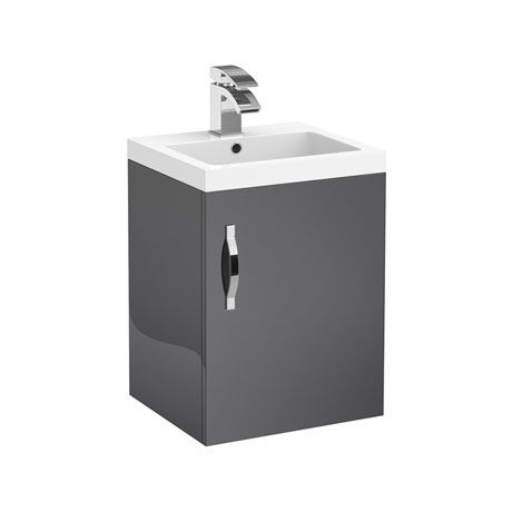 Apollo 400mm Wall Hung Vanity Unit (Gloss Grey - Depth 355mm)