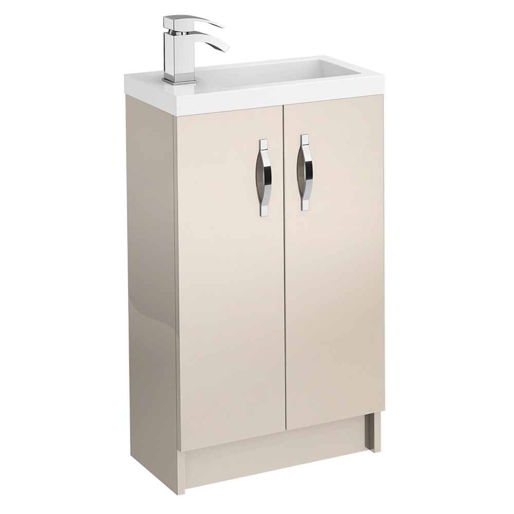 Apollo 500mm Compact Floor Standing Vanity Unit (Gloss Cashmere - Depth 255mm) Large Image