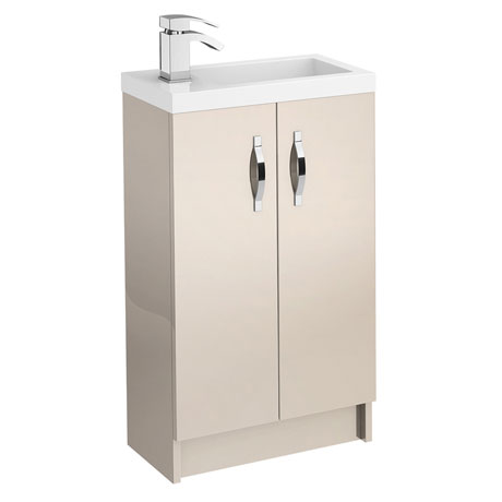 Apollo 500mm Compact Floor Standing Vanity Unit (Gloss Cashmere - Depth 255mm)