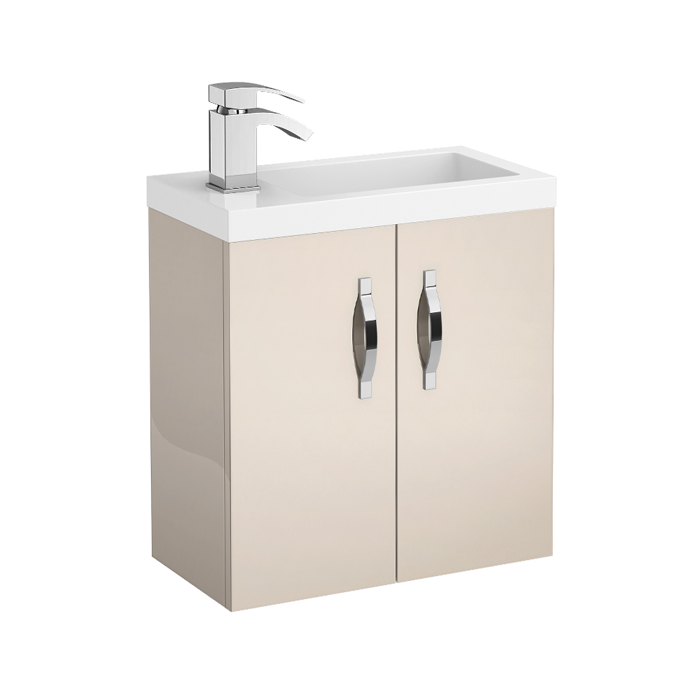 Apollo 500mm Compact Wall Hung Vanity Unit (Gloss Cashmere - Depth 255mm) Large Image