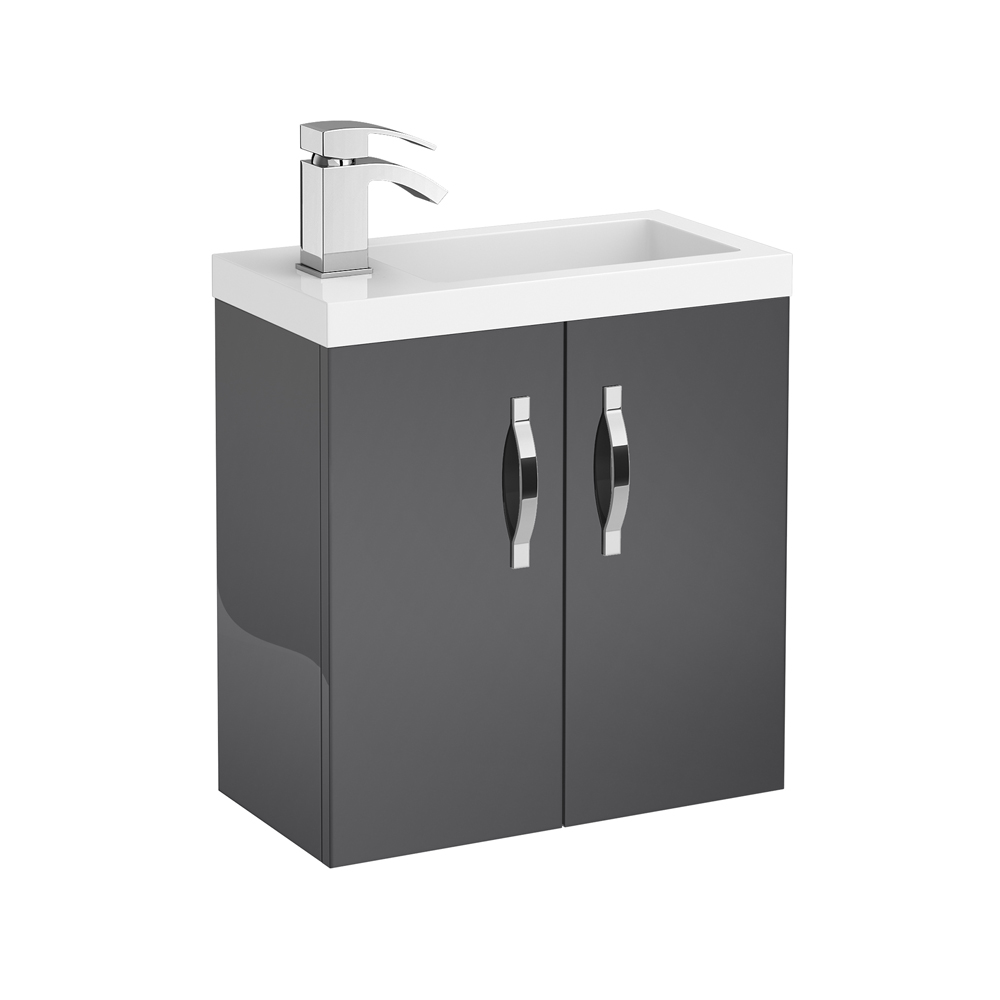 Apollo 500mm Compact Wall Hung Vanity Unit (Gloss Grey - Depth 255mm) Large Image