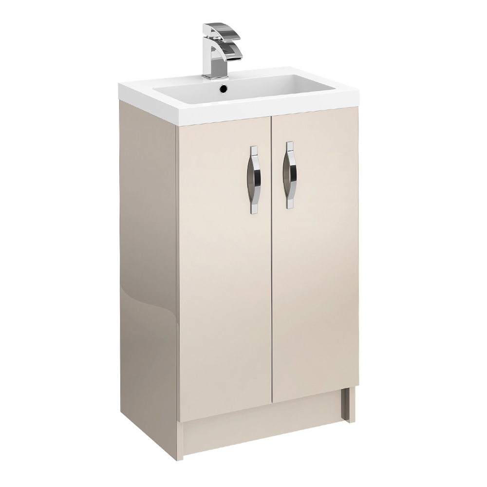 Apollo 500mm Floor Standing Vanity Unit (Gloss Cashmere - Depth 355mm) Large Image