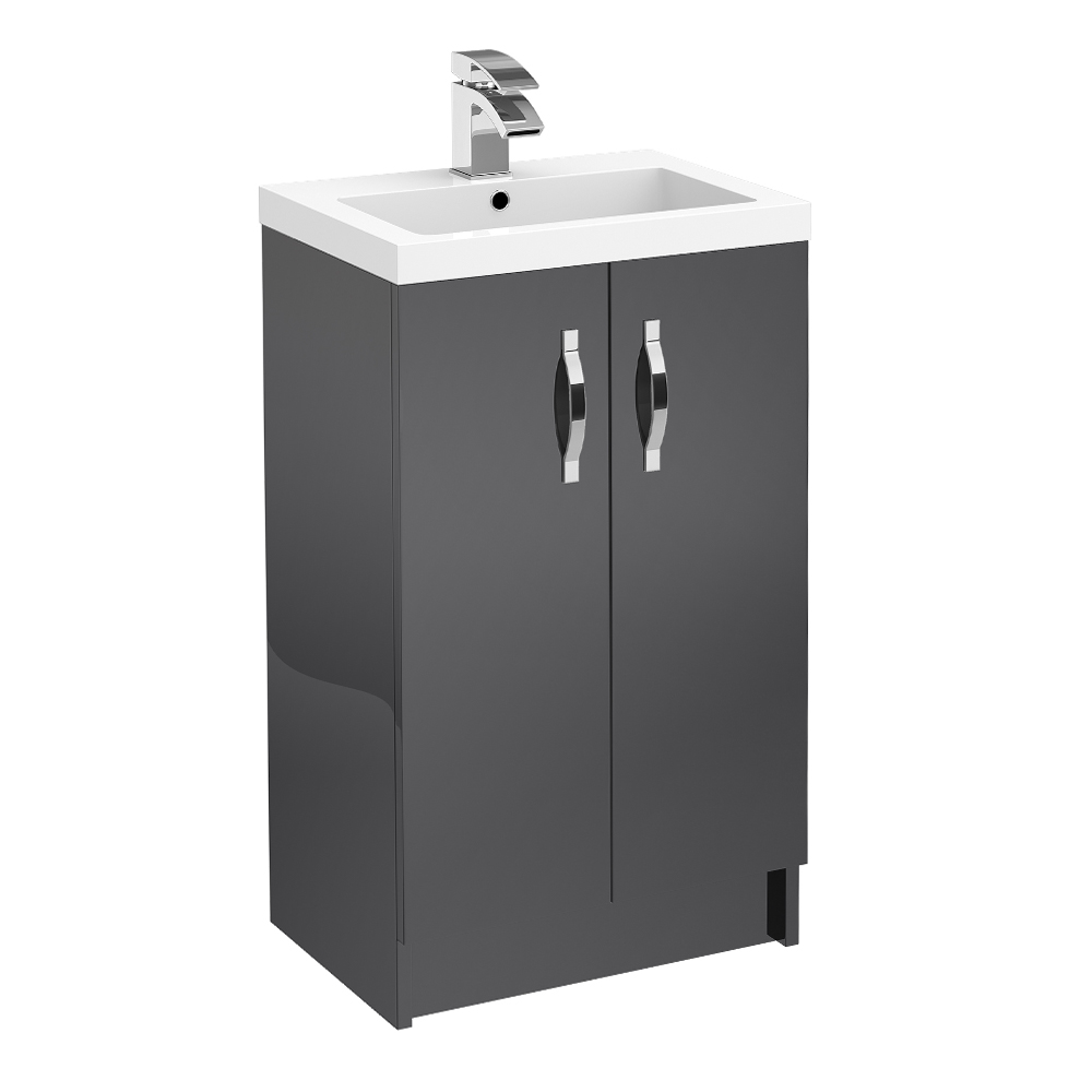 Apollo 500mm Floor Standing Vanity Unit (Gloss Grey - Depth 355mm) profile large image view 1