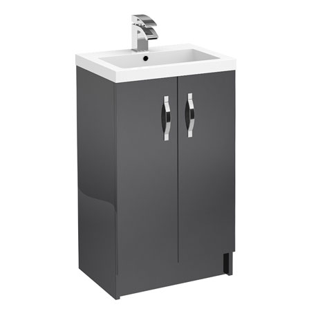 Apollo 500mm Floor Standing Vanity Unit (Gloss Grey - Depth 355mm)