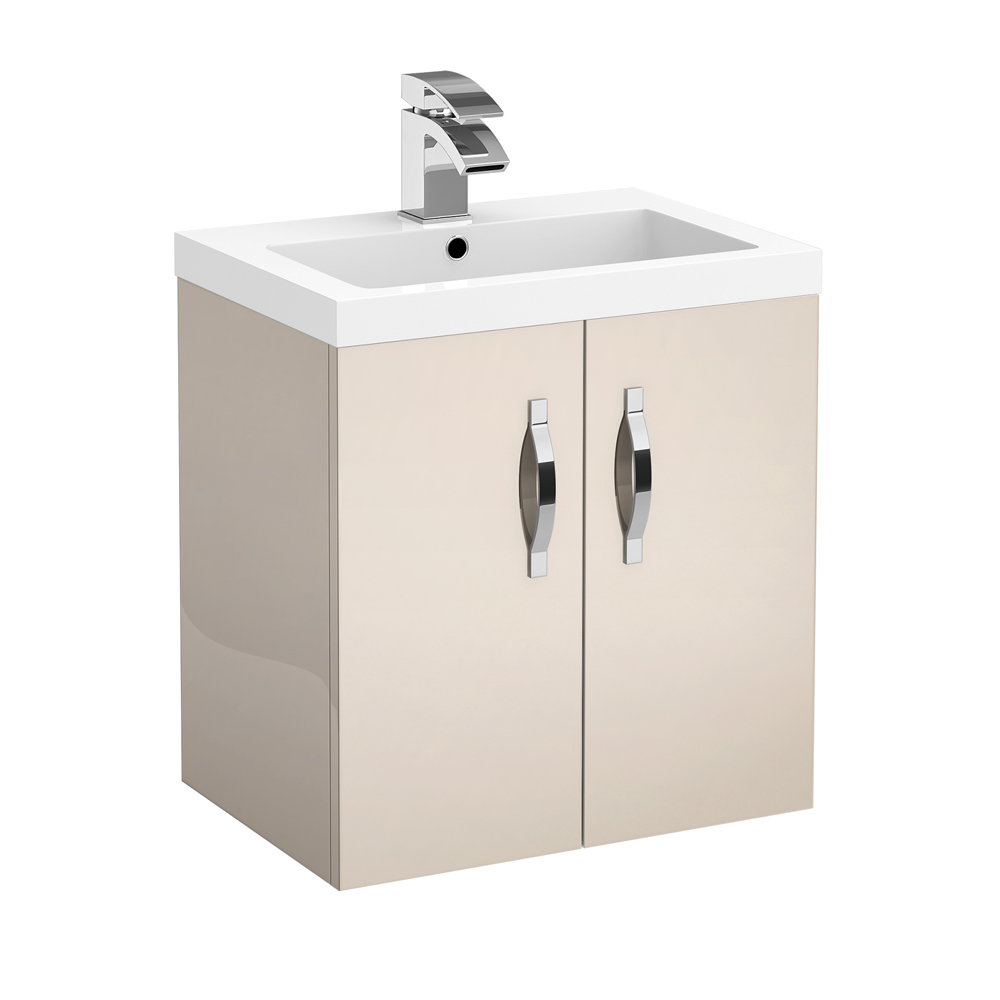 Apollo 500mm Wall Hung Vanity Unit (Gloss Cashmere - Depth 355mm) profile large image view 1