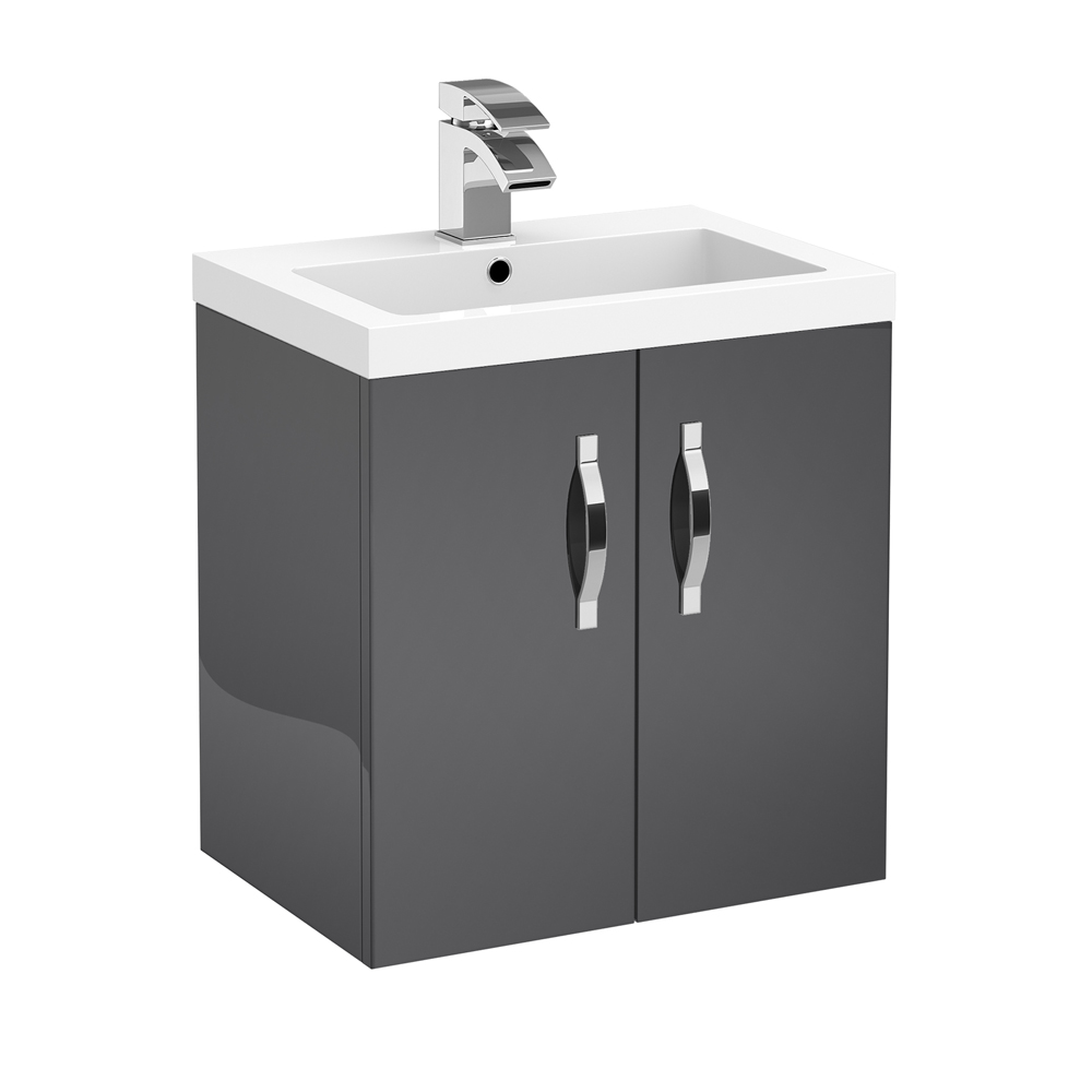 Apollo 500mm Wall Hung Vanity Unit (Gloss Grey - Depth 355mm) profile large image view 1