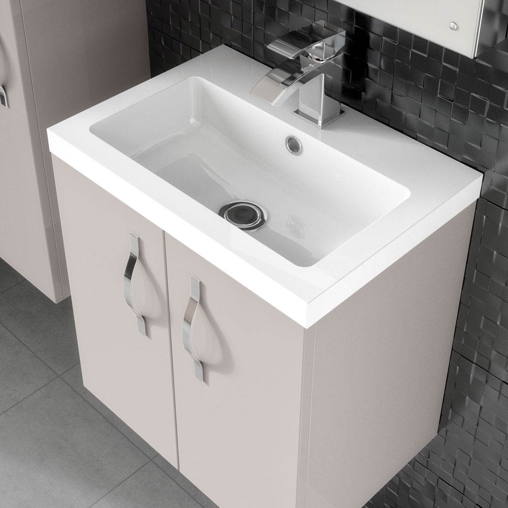 Apollo 500mm Wall Hung Vanity Unit (Gloss Cashmere - Depth 355mm) profile large image view 5