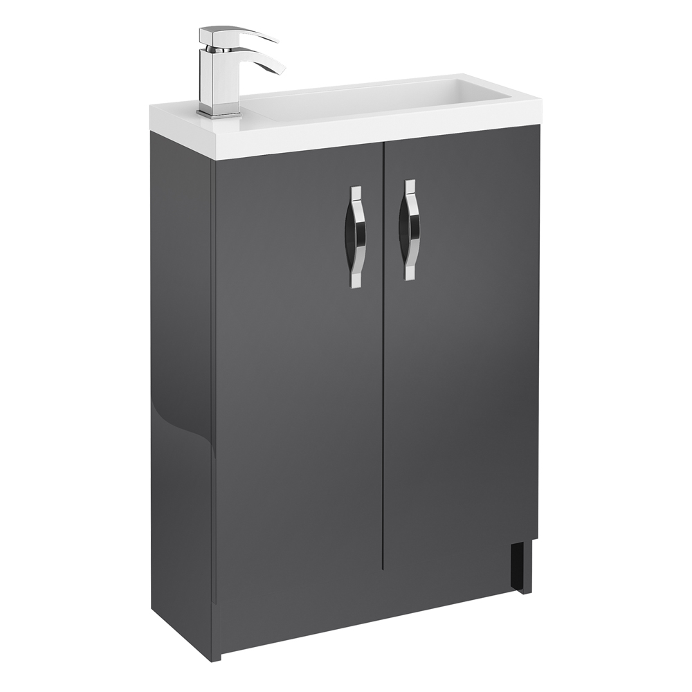 Apollo 600mm Compact Floor Standing Vanity Unit (Gloss Grey - Depth 255mm) Large Image