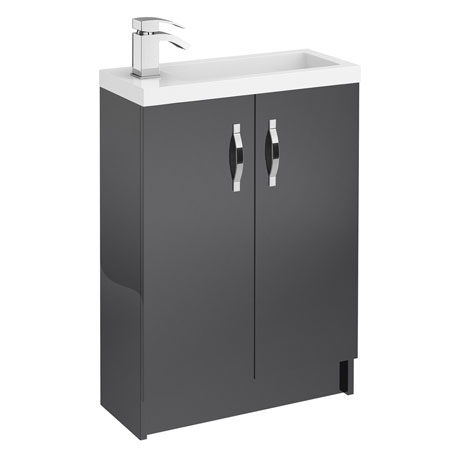 Apollo 600mm Compact Floor Standing Vanity Unit (Gloss Grey - Depth 255mm)