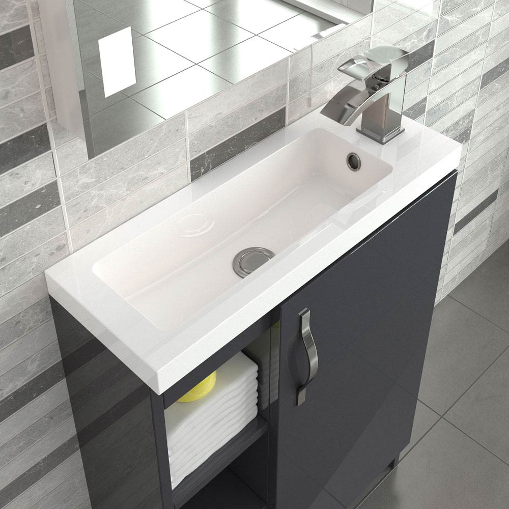 Apollo 600mm Compact Open Shelf Vanity Unit (Gloss Grey - Depth 255mm)  In Bathroom Large Image