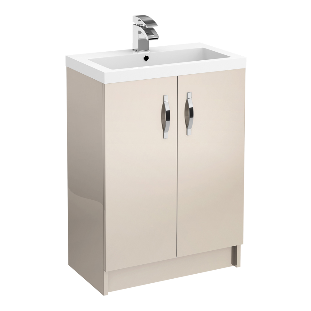 Apollo 600mm Floor Standing Vanity Unit (Gloss Cashmere - Depth 355mm) Large Image
