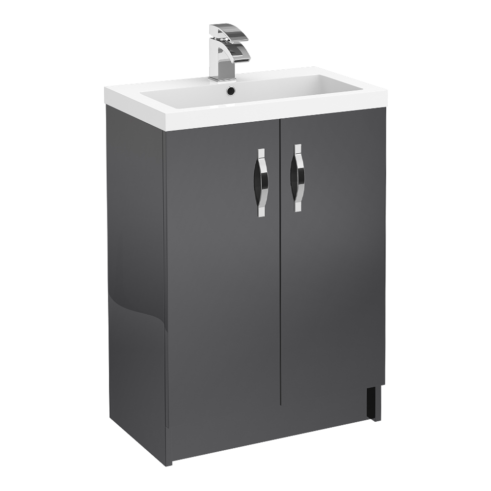 Apollo 600mm Floor Standing Vanity Unit (Gloss Grey - Depth 355mm) Large Image
