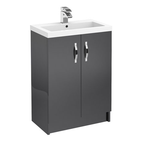 Apollo 600mm Floor Standing Vanity Unit (Gloss Grey - Depth 355mm)