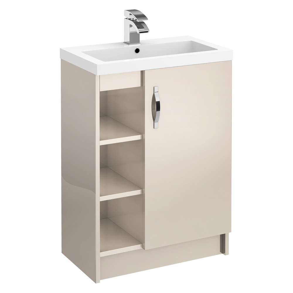 Apollo 600mm Open Shelf Vanity Unit (Gloss Cashmere - Depth 355mm) Large Image