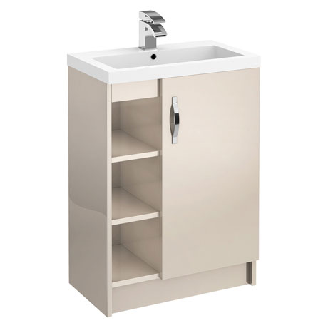 Apollo 600mm Open Shelf Vanity Unit (Gloss Cashmere - Depth 355mm)