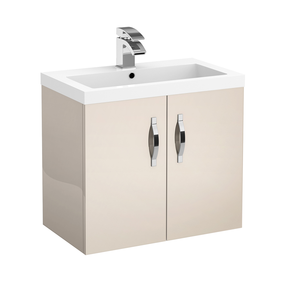 Apollo 600mm Wall Hung Vanity Unit (Gloss Cashmere - Depth 355mm) Large Image