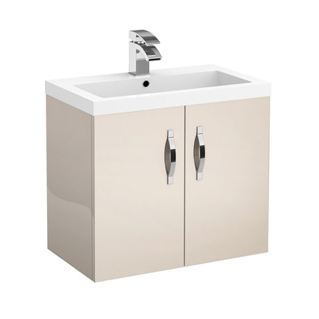 Apollo 600mm Wall Hung Vanity Unit (Gloss Cashmere - Depth 355mm)