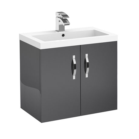 Apollo 600mm Wall Hung Vanity Unit (Gloss Grey - Depth 355mm)