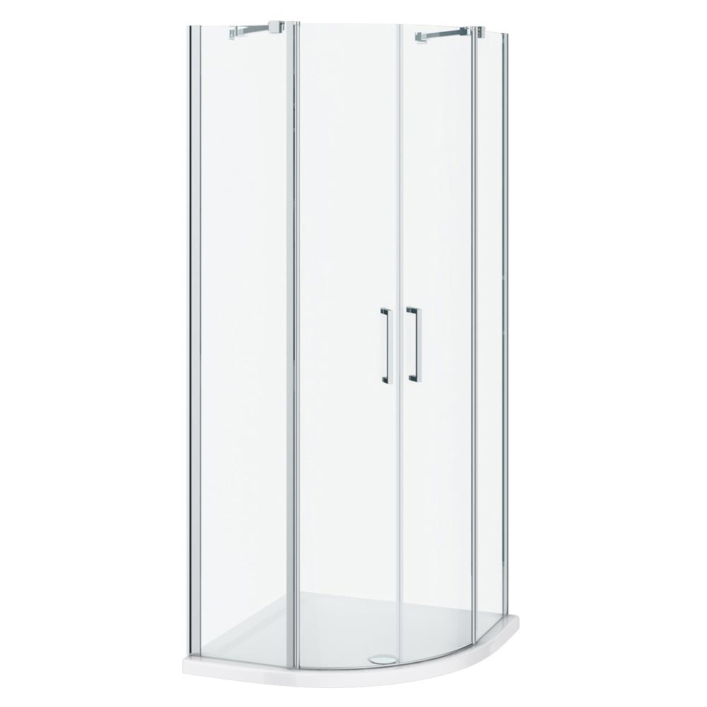 Apollo 800x800mm Frameless Double Door Quadrant Enclosure (Inc. Tray + Waste) profile large image view 2