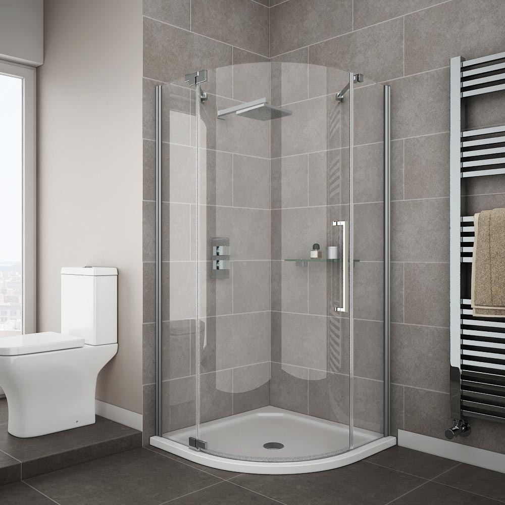 Apollo frameless single door quadrant enclosure with tray victorian plumbing - Small shower enclosures ...