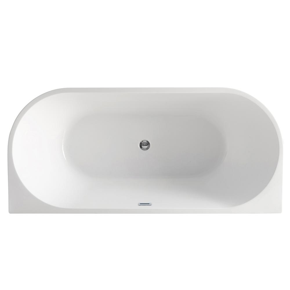 Apollo Back To Wall Modern Curved Bath (1700 x 780mm) Profile Large Image