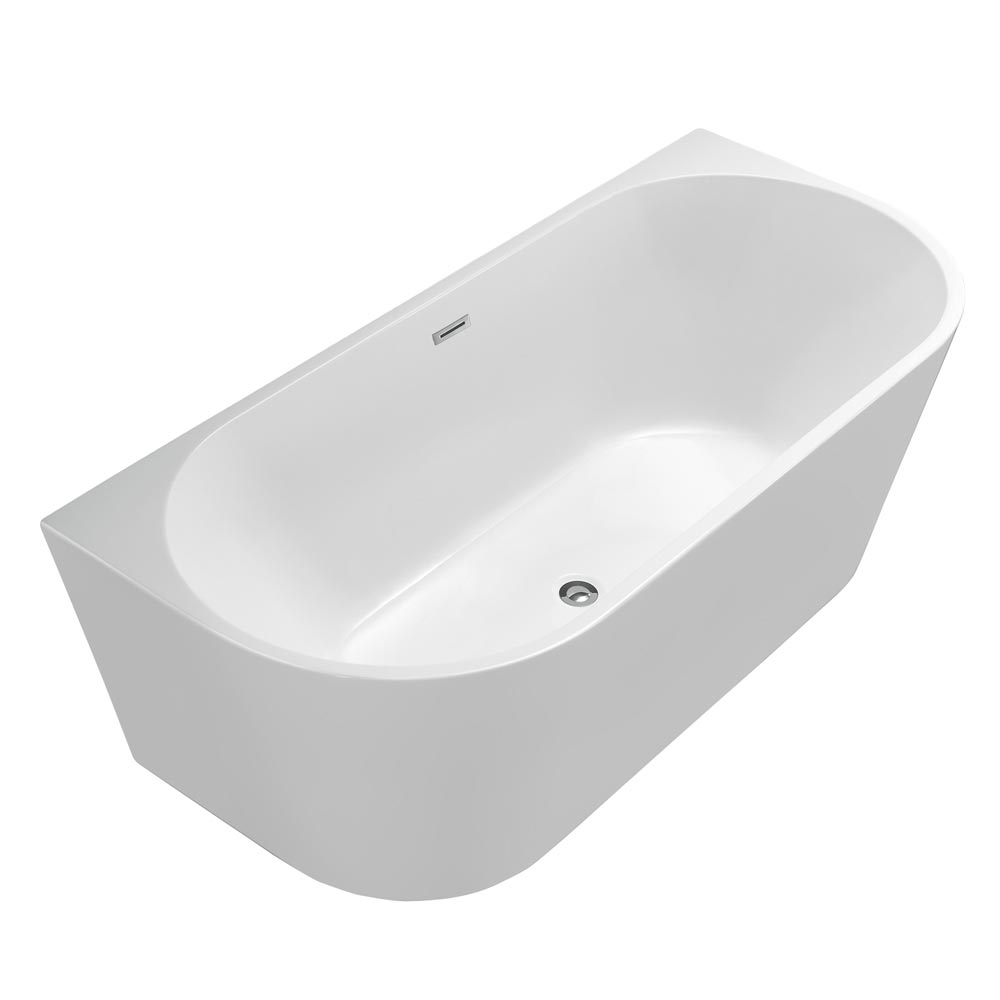 Apollo Back To Wall Modern Curved Bath (1700 x 780mm) Large Image