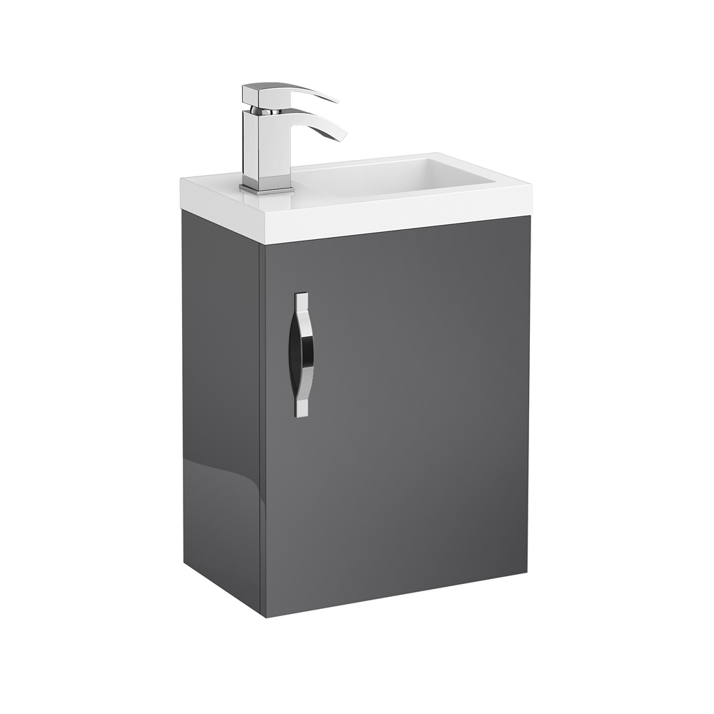Apollo 400mm Compact Wall Hung Vanity Unit (Gloss Grey - Depth 255mm) Large Image