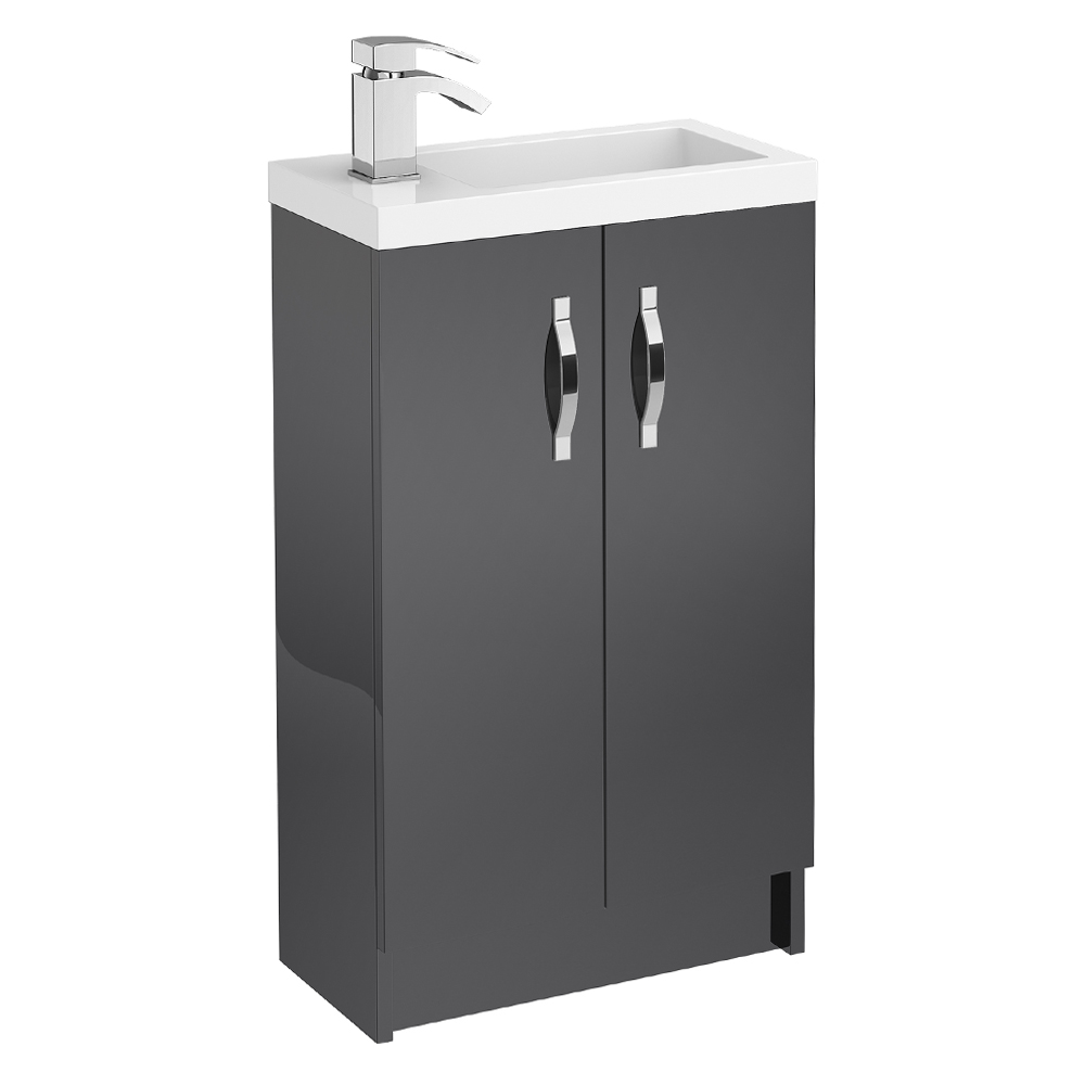 Apollo 500mm Compact Floor Standing Vanity Unit (Gloss Grey - Depth 255mm) profile large image view 1