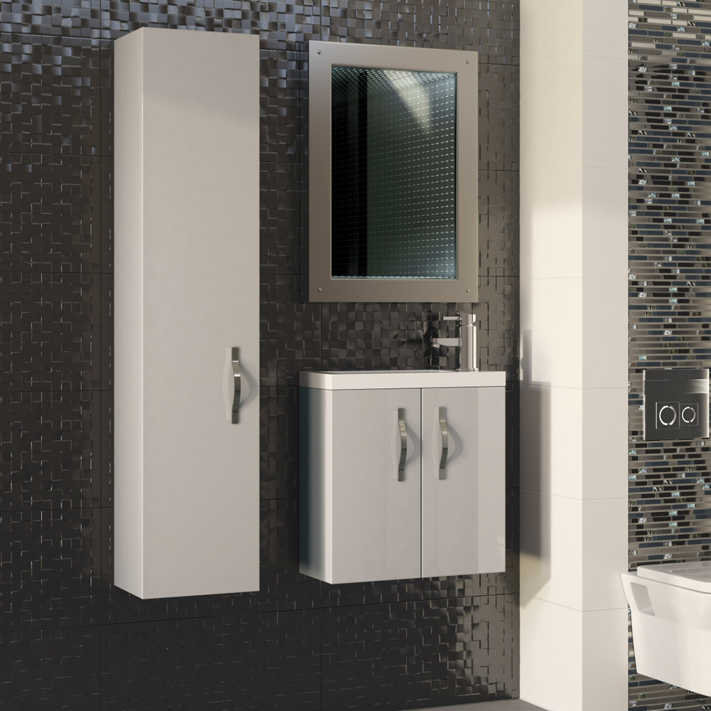 Apollo 600mm Compact Wall Hung Vanity Unit (Gloss Cashmere - Depth 255mm) profile large image view 4