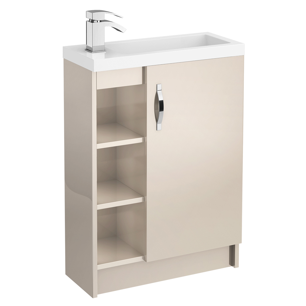 Apollo 600mm Compact Open Shelf Vanity Unit (Gloss Cashmere - Depth 255mm) Large Image