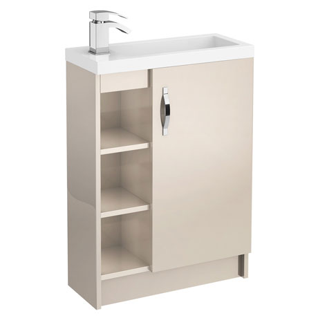 Apollo 600mm Compact Open Shelf Vanity Unit (Gloss Cashmere - Depth 255mm)