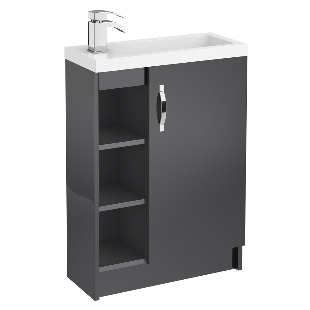 Apollo 600mm Compact Open Shelf Vanity Unit (Gloss Grey - Depth 255mm) Large Image