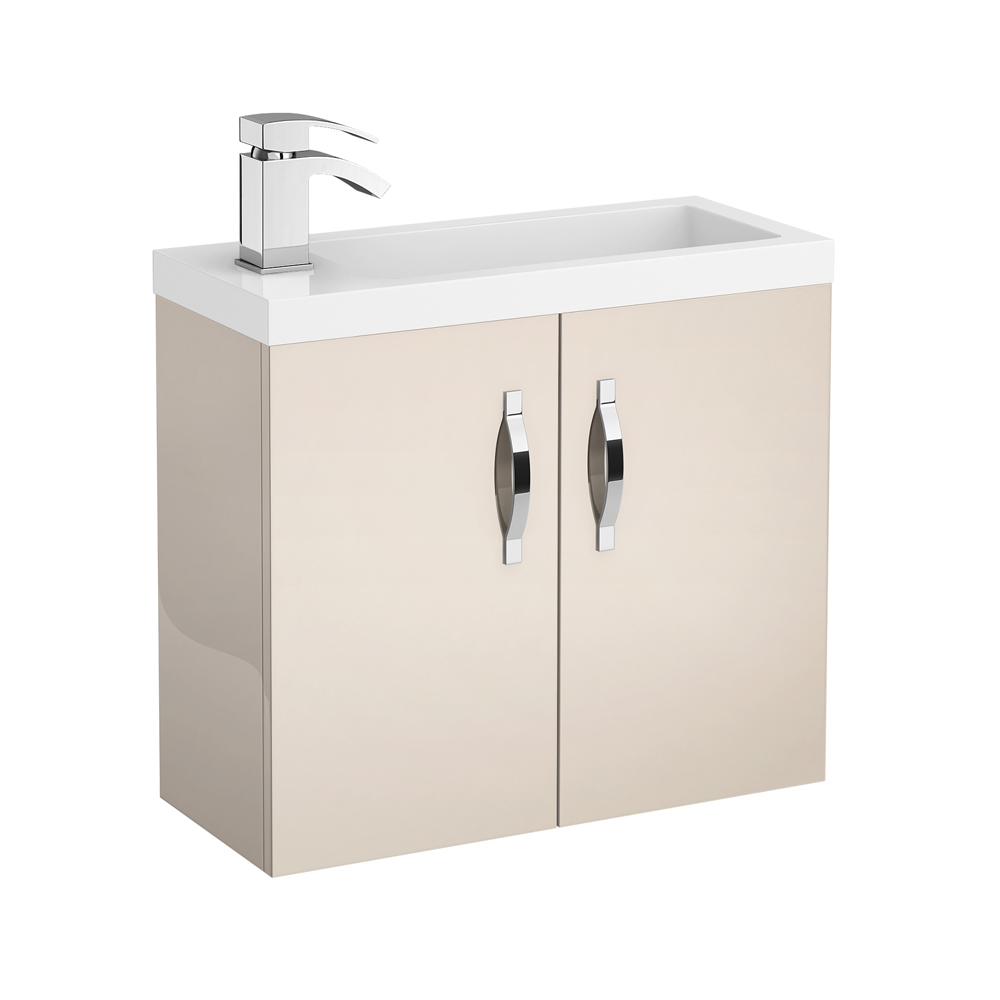 Apollo 600mm Compact Wall Hung Vanity Unit (Gloss Cashmere - Depth 255mm) Large Image
