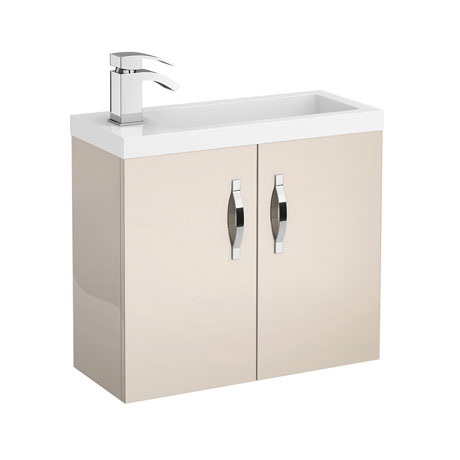 Apollo 600mm Compact Wall Hung Vanity Unit (Gloss Cashmere - Depth 255mm)