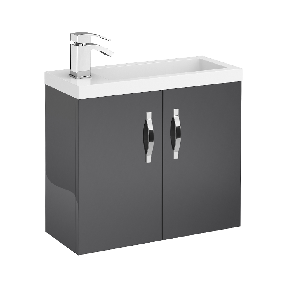 Apollo 600mm Compact Wall Hung Vanity Unit (Gloss Grey - Depth 255mm) Large Image