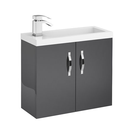 Apollo 600mm Compact Wall Hung Vanity Unit (Gloss Grey - Depth 255mm)