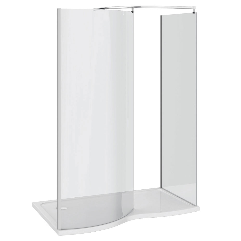 Apollo Curved Frameless Walk-In Enclosure (Inc. Tray + Waste) profile large image view 3