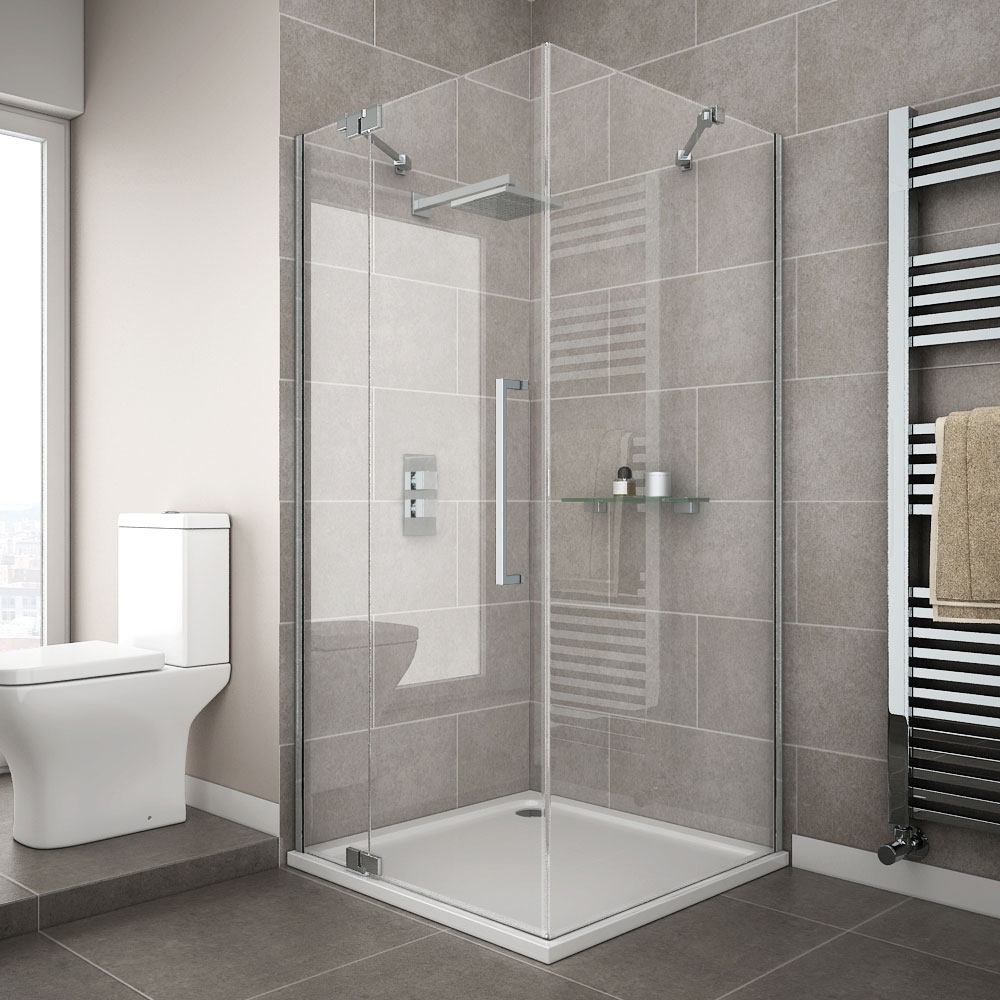 Apollo 700x700 Frameless Hinged Door Square Enclosure | Victorian Plumbing