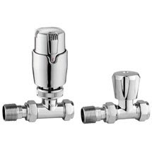 Apollo Modern Chrome Straight Thermostatic Radiator Valves Medium Image