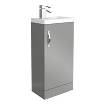 Apollo2 405mm Gloss Grey Compact Floor Standing Vanity Unit Medium Image