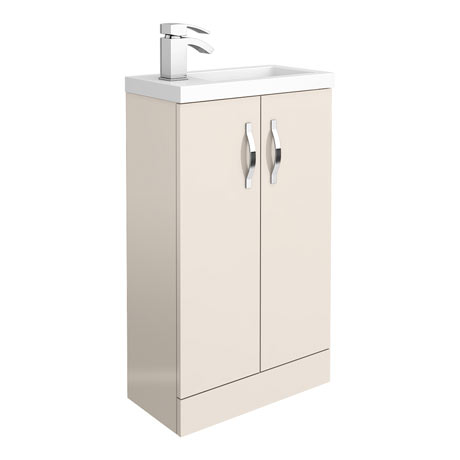 Apollo2 505mm Gloss Cashmere Compact Floor Standing Vanity Unit