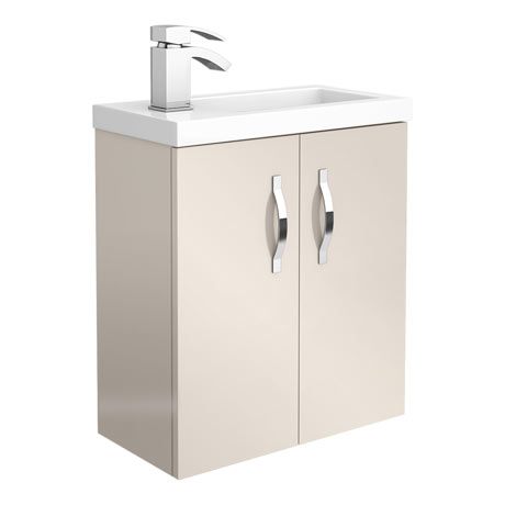 Apollo2 505mm Gloss Cashmere Compact Wall Hung Vanity Unit