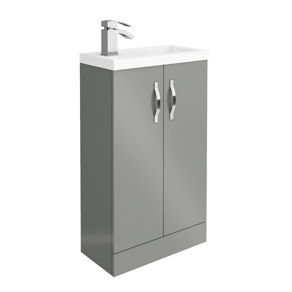 Apollo2 505mm Gloss Grey Compact Floor Standing Vanity Unit