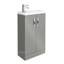 Apollo2 505mm Gloss Grey Compact Floor Standing Vanity Unit Medium Image