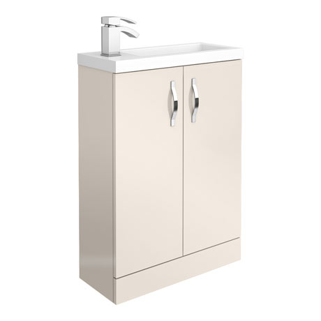 Apollo2 605mm Gloss Cashmere Compact Floor Standing Vanity Unit