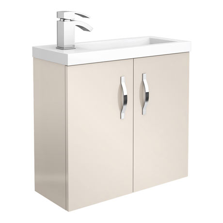 Apollo2 605mm Gloss Cashmere Compact Wall Hung Vanity Unit