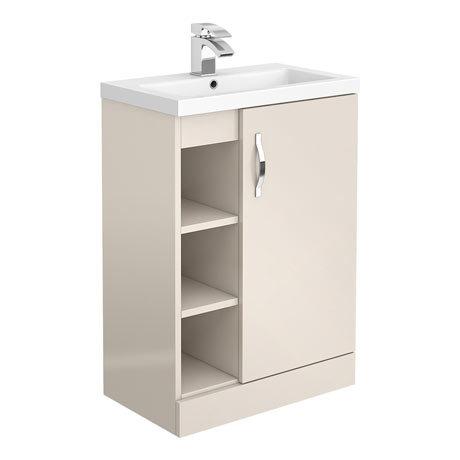 Apollo2 605mm Gloss Cashmere Open Shelf Floor Standing Vanity Unit