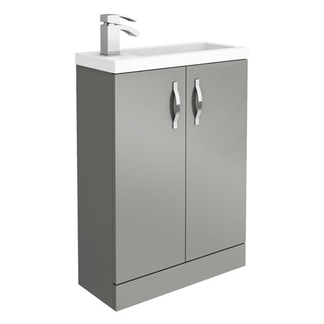 Apollo2 605mm Gloss Grey Compact Floor Standing Vanity Unit