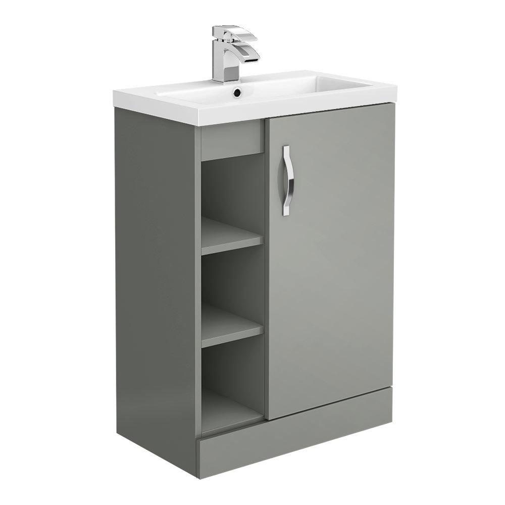 Apollo2 605mm Gloss Grey Open Shelf Floor Standing Vanity Unit  Victorian  Plumbing Uk